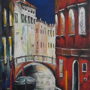 Velencei hangulat, Művészet, Akril, Festmény, 50 x 40 cm feszített vászonra festett, művész akrillal, ecsettel és festő késsel. A kép Gleb Goloube..., Meska
