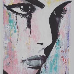 Női pillanat, Művészet, Festmény, Akril, Festészet, Festett tárgyak, 60 x 40 cm kemény, egy centi vastag reklám kartonra, művész akrillal, ecsettel és festő késsel készü..., Meska