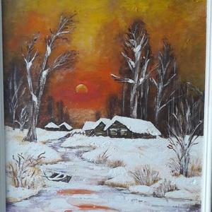 Tél - Jég - Szép - akril festmény, Akril, Festmény, Művészet, Festészet, Festett tárgyak, 55 x 45 cm farostra festett akrilfestmény.\nVegyestechnikáva, ecset és festőkés.\nFakeretben, fehérre ..., Meska