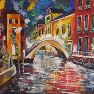 Velencei fények, Művészet, Akril, Festmény, 40 x 50 cm akrilfestményem farostra, keretezve. A képet vegyes technikával , festőkéssel és ecsettel..., Meska