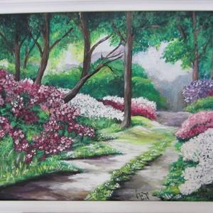 Napsütötte erdei ösvény, Művészet, Festmény, Akril, Festészet, Festett tárgyak, 40 x 50 cm akrilfestményem farostra, keretezve.\nFehér színre festett fa keretben.\n\nSzemélyes átvétel..., Meska