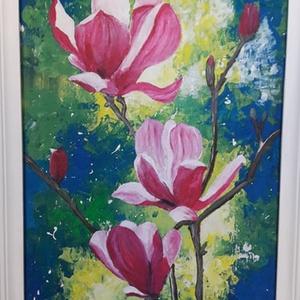Magnólia, Művészet, Festmény, Akril, Festészet, Festett tárgyak, 60 x 30 cm akrilfestményem farostra, keretezve.\nA képet vegyes technikával festőkéssel, ecsettel fes..., Meska