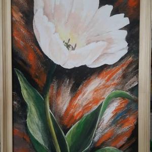 Egy szál tulipán - akrilfestmény, Akril, Festmény, Művészet, Festett tárgyak, Festészet, 60 x 30 cm farostra festett akrilfestmény.\n\nFakeretben, (natur, de kérésre bármiylen színnel lefeste..., Meska