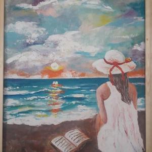 Napfelkelte - akrilfestmény, Akril, Festmény, Művészet, Festett tárgyak, Festészet, 50 x 40 cm farostra festett akrilfestmény.\n\nFakeretben, (natur, de kérésre bármilyen színnel lefeste..., Meska