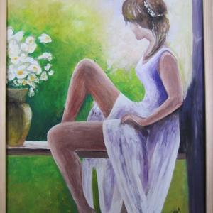 Augusztusi reggel, Művészet, Festmény, Akril, Festészet, Festett tárgyak, 50 x 40 cm akrilfestményem farostra, keretezve.\nNatur fa keretben. (a keretet igény szerinti színre ..., Meska