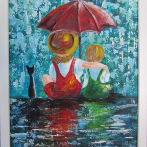 Testvérek, Művészet, Festmény, Akril, Festészet, Festett tárgyak, 40 x 30 cm akrilfestményem farostra, keretezve.\nA képet vegyes technikával , festőkéssel és ecsettel..., Meska