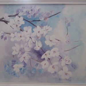 Virágzó ág, Művészet, Akril, Festmény, 40 x 50 cm akrilfestményem farostra. Fehérre festett natur fa keretben., Meska