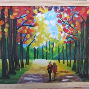 Erdőben, kettesben, Művészet, Festmény, Akril, Festészet, Festett tárgyak, 40 x 50 cm akrilfestményem farostra, keretezve.\nNatur fa keretben. (a keretet igény szerinti színre ..., Meska