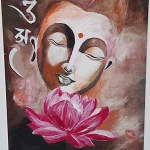 """Boldogság - Buddha - akril festmény, Akril, Festmény, Művészet, Festett tárgyak, Festészet, \""""Nincs semmi okos dolog, ami azt sugallná, hogy ne légy boldog\"""" - Buddha\n\n40 x 30 cm, farostra, akri..., Meska"""