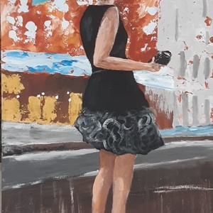 Pocsolyába léptem - akrilfestményem, Akril, Festmény, Művészet, Festészet, Festett tárgyak, 30 x 60 cm akrilfestményem farostra, keretezve. \nA natur fa keretet igény szerinti színre tudom fest..., Meska