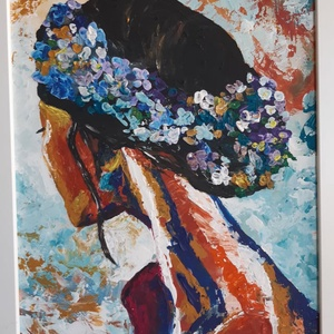 Virágkoszorú - akrilfestményem, Otthon & lakás, Képzőművészet, Festmény, 40 x 30 cm akrilfestményem farostra, fehér keretben. A festmény festőkéssel készült., Meska