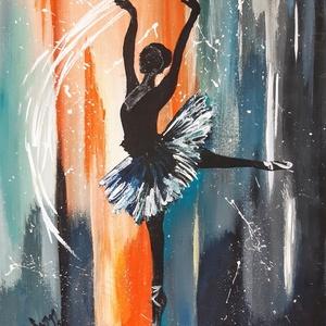Balerina - akrilfestmény, Otthon & lakás, Képzőművészet, Festmény, 40 x 28 cm akrilfestményem farostra Keret nélkül, Meska