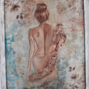 Fürdés után - reggeli előtt - Festmény, Akril, Festmény, Művészet, Festészet, Decoupage, transzfer és szalvétatechnika, A festmény mixed-media technikával készült 50 x 40 cm farostra, akrilfestékkel, különböző pasztákkal..., Meska