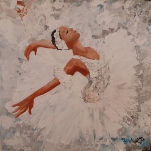 Balett - Táncosnő - Akrilfestmény, Művészet, Festmény, Akril, 40 x 40 cm akrilfestményem farostra A képet vegyes technikával , festőkéssel és ecsettel festettem. ..., Meska