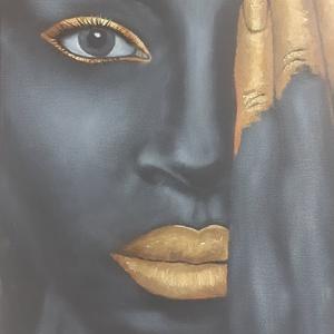 Fekete Szépség - arannyal, Művészet, Festmény, Olajfestmény,   40 x 30 cm, feszített vászonra, olajfestékkel készült festményemet egy internetes fotó inspirálta...., Meska