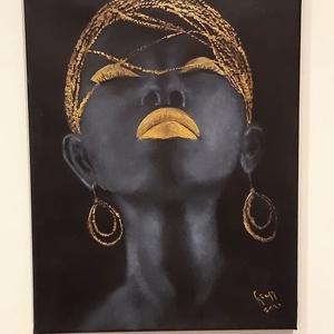 Fekete Szépség 2. - arannyal, Művészet, Festmény, Olajfestmény, Festett tárgyak, Festészet, \n40 x 30 cm, feszített vászonra, olajfestékkel készült festményemet egy internetes fotó inspirálta. ..., Meska