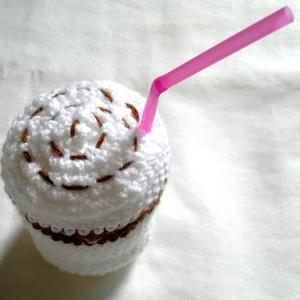 vidám horgolt latte macchiato - a kávé szerelmeseinek - otthon & lakás - dekoráció - asztaldísz - Meska.hu