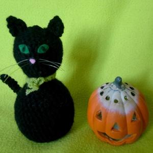 horgolt fekete macska, Halloween, Halloweeni figurák, Horgolás, Meska