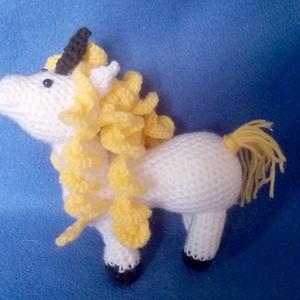 horgolt fehér egyszarvú ló, unikornis, Játék & Gyerek, Unikornis, Plüssállat & Játékfigura, Horgolás, Meska