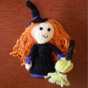 horgolt boszorkány figura Halloweenra - Meska.hu