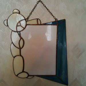 Tiffany macis képkeret, Dekoráció, Otthon & lakás, Kép, Lakberendezés, Képkeret, tükör, Üvegművészet, Mindenmás, Tiffany technikával készült macis képkeret. 18*13-as képhez (formához igazítva). A keret teljes mére..., Meska