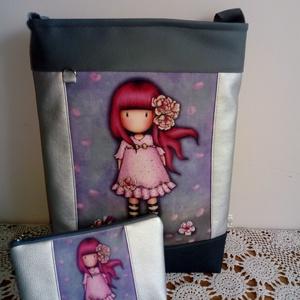 Pinki  táska+ neszi, Táska, Divat & Szépség, Táska, Neszesszer, Válltáska, oldaltáska, Varrás, \nTextibőr ès vászon kombinàciója ez a táska.\nBelsejében kettő darab zseb található, vállpántja állít..., Meska