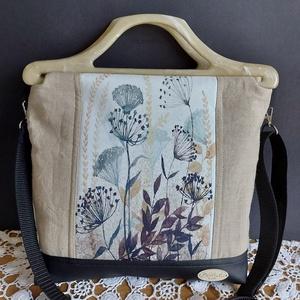 Mezei virágok, Táska & Tok, Kézitáska & válltáska, Varrás, Egyedi  kézi táska  hordható kézi füllel , vagy vállpánttal.\nLenvászon és textilbőr  kombinációja, m..., Meska