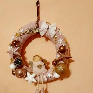 Karácsonyi kopogtató, Karácsony & Mikulás, Karácsonyi kopogtató, Mindenmás, Egyedi dekoráció. 25 cm- es ajtódísz. \n, Meska