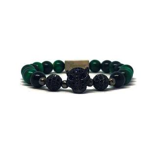 Black and Green Leopard Amoor karkötő, Bogyós karkötő, Karkötő, Ékszer, Ékszerkészítés, HIPOALLERGÉN:\nA karkötők kiegészítő elemei hipoallergén rozsdamentes acélból készültek.\nTökéletes Il..., Meska