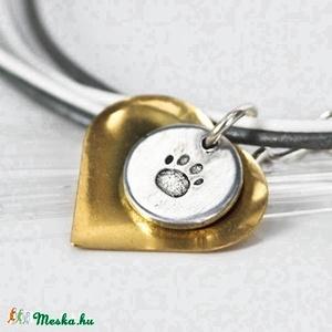 Szív és tappancs nyaklánc - Anyák napi kedvezménnyel (amuletta) - Meska.hu