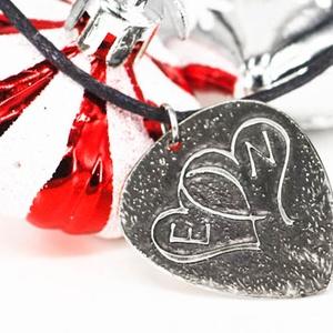 Dupla szív kezdőbetűkkel -karácsonyi ajándék ötlet, Ékszer, Esküvő, Nyaklánc, Ékszerkészítés, Dupla szív kezdőbetűkkel  Ajándék ötlet: Karácsonyra, Valentin napra  Alapanyag: Alpakka Forma: git..., Meska