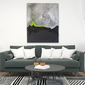 Absztrakt festmény, Akril, Festmény, Művészet, Festészet, Paverpol technikával készült absztrakt festmény, mely egy részen kidomborodik a sík térből, elválasz..., Meska