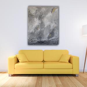 Absztrakt festmény, Otthon & lakás, Dekoráció, Kép, Festészet, Absztrakt festmény, mely az alsó részén, a vászonra dolgozott (paverpol technika) újrahasznosított a..., Meska