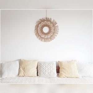 Mandala makramé, Otthon & Lakás, Dekoráció, Falra akasztható dekor, Csomózás, Természetes, len fonalból készült mandala makramé. \nMérete: 60 cm, Meska