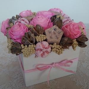 Rózsaszín virágdoboz (Anahana) - Meska.hu