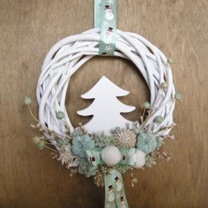 Téli ajtódísz, Otthon & Lakás, Karácsony & Mikulás, Karácsonyi kopogtató, Virágkötés, Téli ajtódísz szárazvirágokból és termésekből.\n\nMérete:\nÁtmérő: kb. 15 cm, Meska