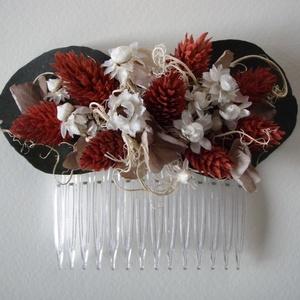 Hajdísz szárazvirágokból, Esküvő, Hajdísz, ruhadísz, Táska, Divat & Szépség, Ruha, divat, Hajbavaló, Virágkötés, Szárazvirágokból készült hajdísz. \nMérete: kb. 11x8 cm, Meska