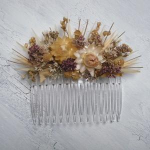 Hajdísz natúr szárazvirágokból, Esküvő, Hajdísz, Fésűs hajdísz, Virágkötés, Hajdísz menyasszonyoknak, koszorúslányoknak. Műanyag hajfésűre készült szárazvirágokból és termésekb..., Meska