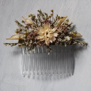 Hajdísz natúr és fehér szárazvirágokból, Esküvő, Hajdísz, Fésűs hajdísz, Virágkötés, Meska