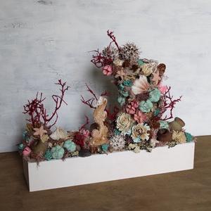 Nagy korallzátony asztaldísz, Otthon & Lakás, Dekoráció, Asztaldísz, A korallzátonyok élővilága által ihletett asztaldísz. A készítéséhez festett szárazvirágokat, termés..., Meska