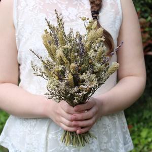 Menyasszonyi csokor natúr szárazvirágokból , Esküvő, Menyasszonyi- és dobócsokor, Menyasszonyi- és dobócsokor, Virágkötés, Kis méretű, laza menyasszonyi csokor natúr szárazvirágokból.\n\nMérete:\nMagasság: kb. 30-32 cm\nSzéless..., Meska