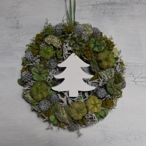 Kicsi zöld-szürke téli ajtódísz, Otthon & Lakás, Dekoráció, Ajtódísz & Kopogtató, Virágkötés, Meska