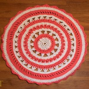 Pink-fehér horgolt mandala szőnyeg (AnArt) - Meska.hu