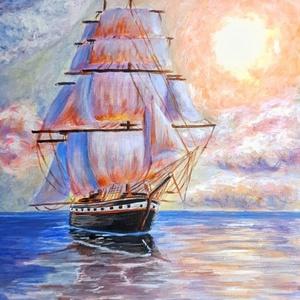 Csendes Vizeken, Képzőművészet, Otthon & lakás, Festmény, Akril, Festészet, 30x40cm-es feszített vászonra készült akril festmény.\nA képet hasonló témában alkotott hajós képek i..., Meska