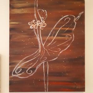 Kecses elegancia, Akril, Festmény, Művészet, Festészet, A festmény 40×50×3,5 cm.\nAkril festékkel készült alkotás, feszített vászonra festve.\nA kép teljesen ..., Meska