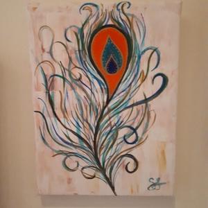 Pávatoll, Akril, Festmény, Művészet, Festészet, A festmény 18x24x2 cm.\nAkril festék felhasználásával készült, festőkéssel és ecsettel, feszített vás..., Meska