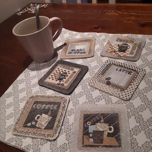 Parafa poháralátét-Coffee, Konyhafelszerelés, Otthon & lakás, Edényalátét, Bögre, csésze, Decoupage, transzfer és szalvétatechnika, Festészet, Dekorativ parafa poháralátét készlet, 6 db.\nDecupage és festés kombinációjával készült,\ncsodálatos k..., Meska