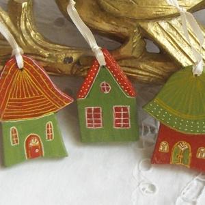 Karácsonyi Házacskák - Karácsi Színek - Karácsonyfadísz (Anasztazia) - Meska.hu