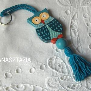 Kék Bagolyka -  Fa kulcstartó  (Anasztazia) - Meska.hu