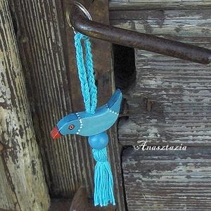 Picike Kék Madaram - Fa kulcstartó (Anasztazia) - Meska.hu